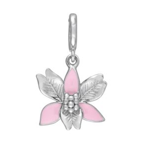 Stella Grace Laura Ashley Botanical Collection Sterling Silver Pink Flower Charm