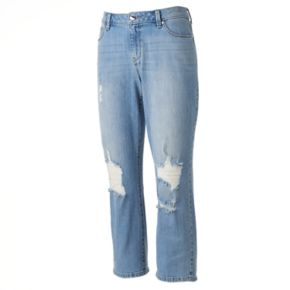 Women's Jennifer Lopez Destructed Straight-Leg Crop Jeans
