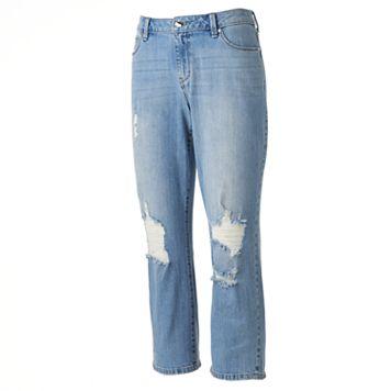 Women's Jennifer Lopez Destructed Straight-Leg Crop Jeans