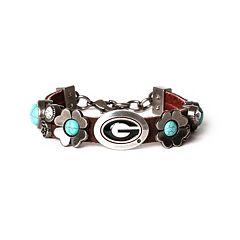 Women's Georgia Bulldogs Turquoise Flower Bracelet