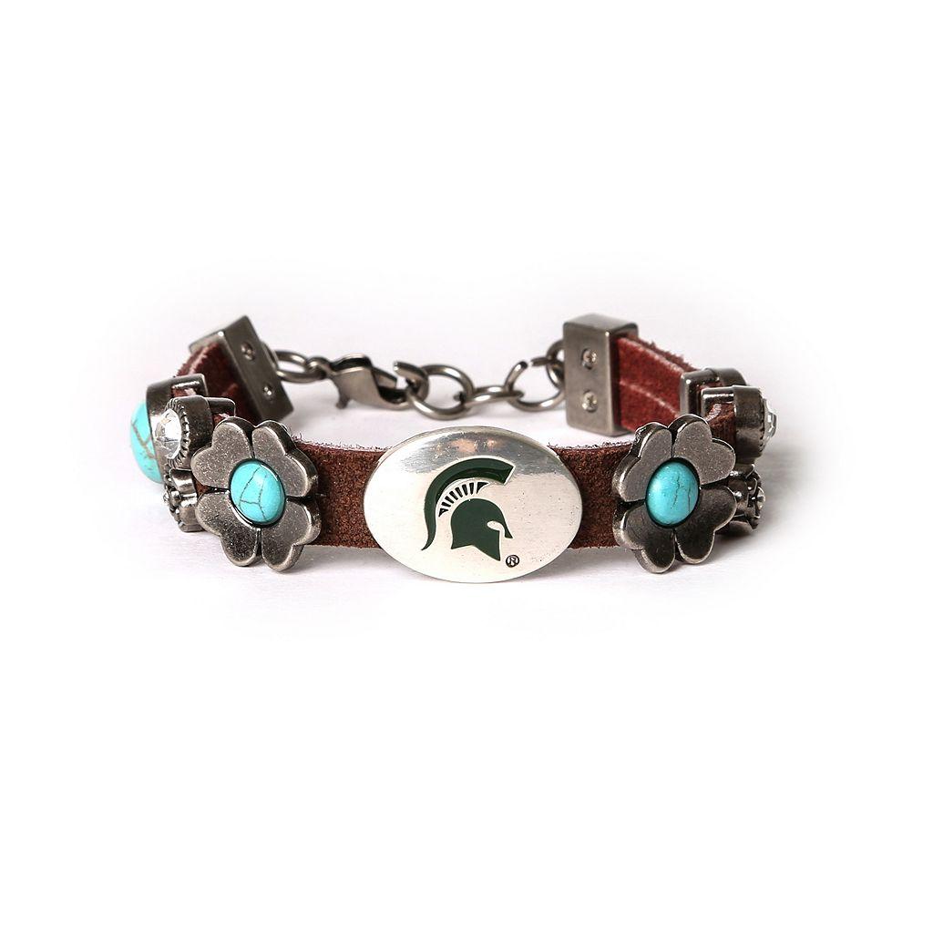 Women's Michigan State Spartans Turquoise Flower Bracelet