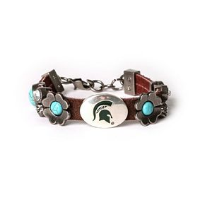 Women's Michigan State Spartans Turquoise Flower Bracelet