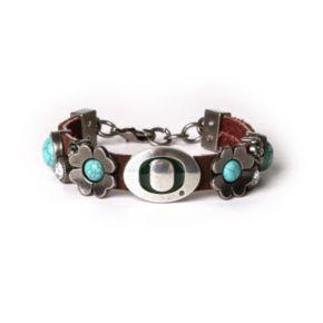 Women's Oregon Ducks Turquoise Flower Bracelet