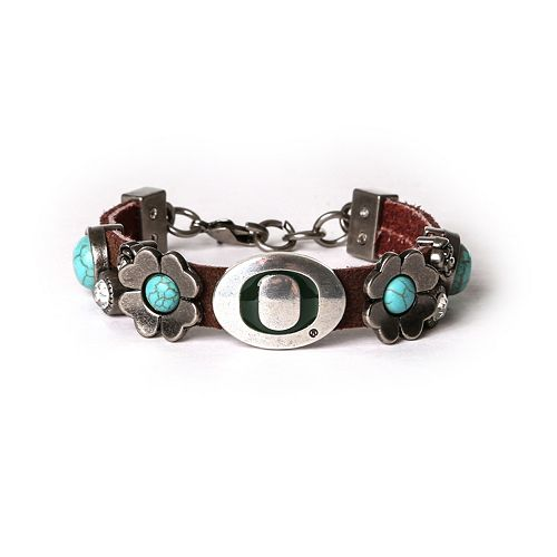 Women's Oregon Ducks Turquoise Flower Bracelet