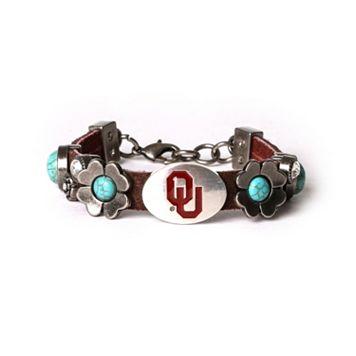 Women's Oklahoma Sooners Turquoise Flower Bracelet