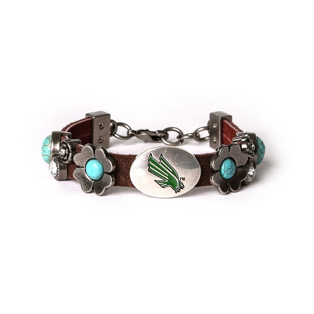 Women's North Texas Mean Green Turquoise Flower Bracelet