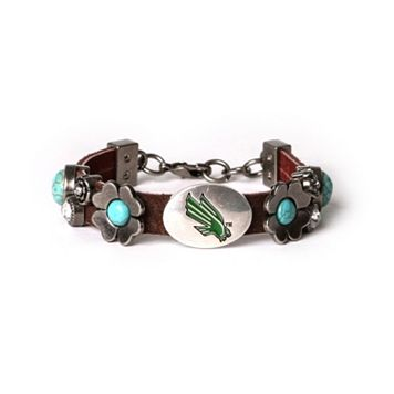 Women's North Texas Mean Green Turquoise Flower Bracelet