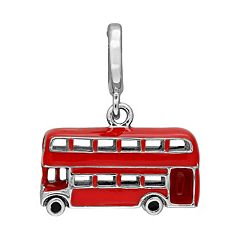 Laura Ashley Great Britain Collection Sterling Silver Double Decker Red Bus Charm