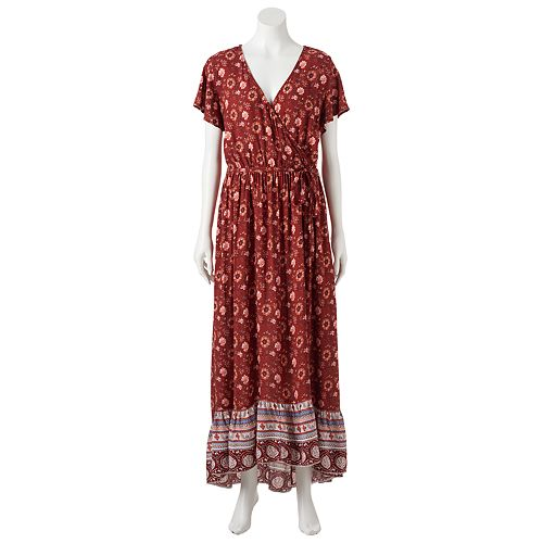 Juniors' Mudd® Floral Surplice Maxi Dress