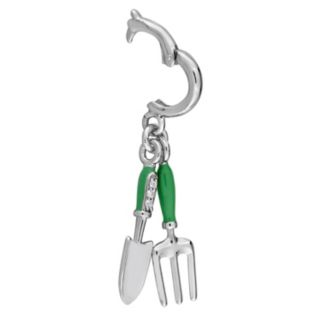 Laura Ashley Garden Collection Sterling Silver Lab-Created White Sapphire Fork & Trowel Charm