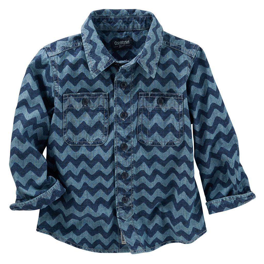 Toddler Boy OshKosh B'gosh® Denim Wave Print Button-Up Shirt