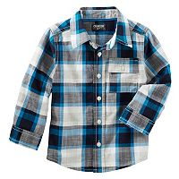 Toddler Boy OshKosh B'gosh® Long Sleeve Blue Plaid Button-Down Shirt