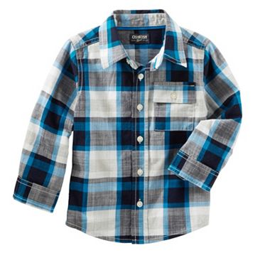 Toddler Boy OshKosh B'gosh® Long Sleeve Blue Plaid Button-Down Shirt