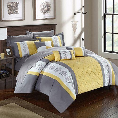 Chic Home Clayton 10 Piece Comforter Set, King, Grey