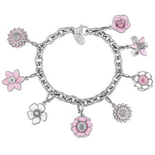 Laura Ashley Botanical Collection Sterling Silver Pink & White Flower Charm