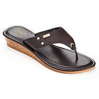 Chaps Women's Hooded Wedge Flip-Flops