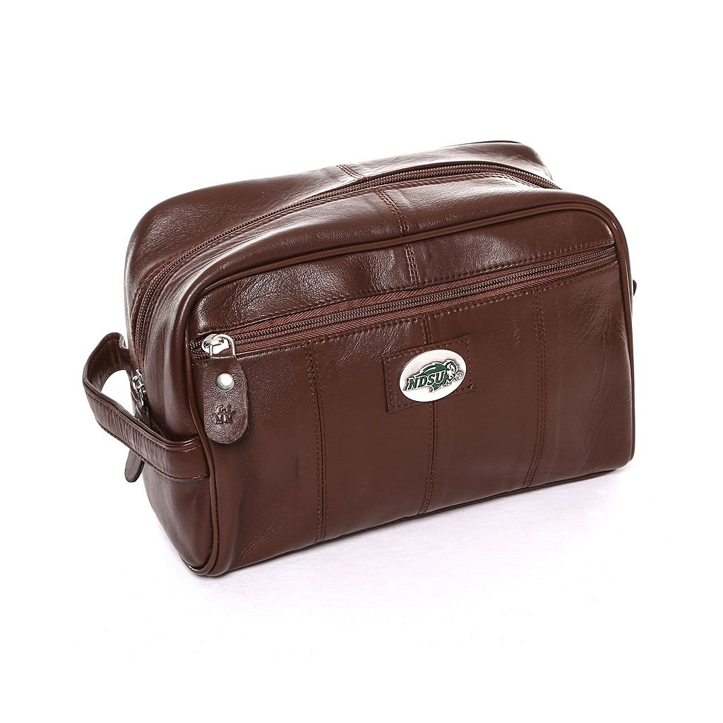 North Dakota State Bison Brown Leather Shave Kit
