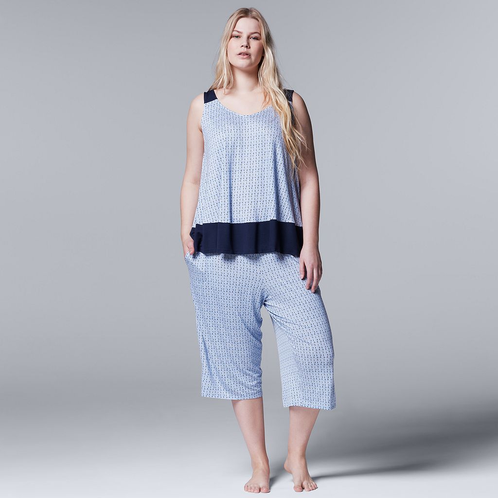 Plus Size Simply Vera Vera Wang Pajamas: Lakeside Lounging Tank & Capris PJ Set