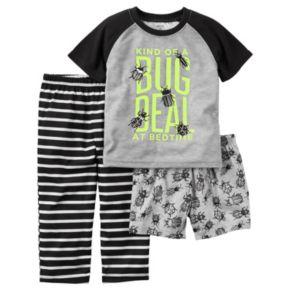 "Toddler Boy Carter's ""Kind Of A Bug Deal At Bedtime"" Graphic Tee, Bug-Print Shorts & Striped Pants Pajama Set"