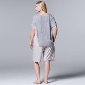 Plus Size Simply Vera Vera Wang Pajamas: Lakeside Lounging Tee & Bermuda Shorts PJ Set