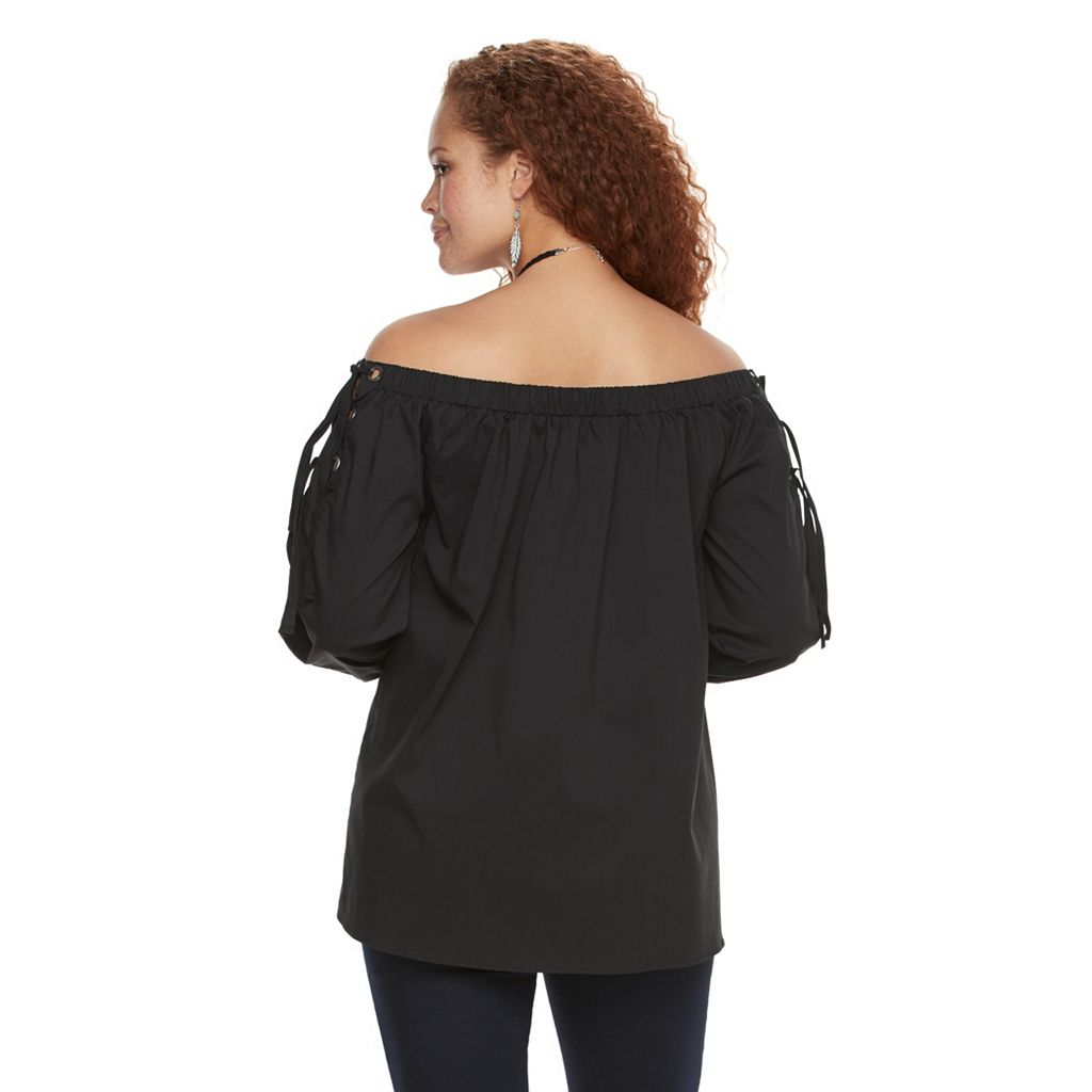 Plus Size Rock & Republic® Off-the-Shoulder Lace Up Top