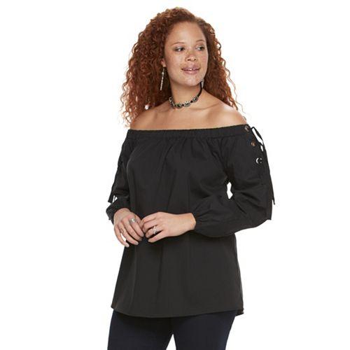 1859092360a56 Plus Size Rock   Republic® Off-the-Shoulder Lace Up Top