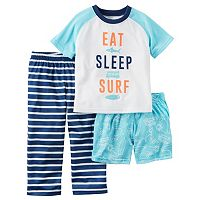 Toddler Boy Carter's Graphic Tee, Print Shorts & Striped Pants Pajama Set