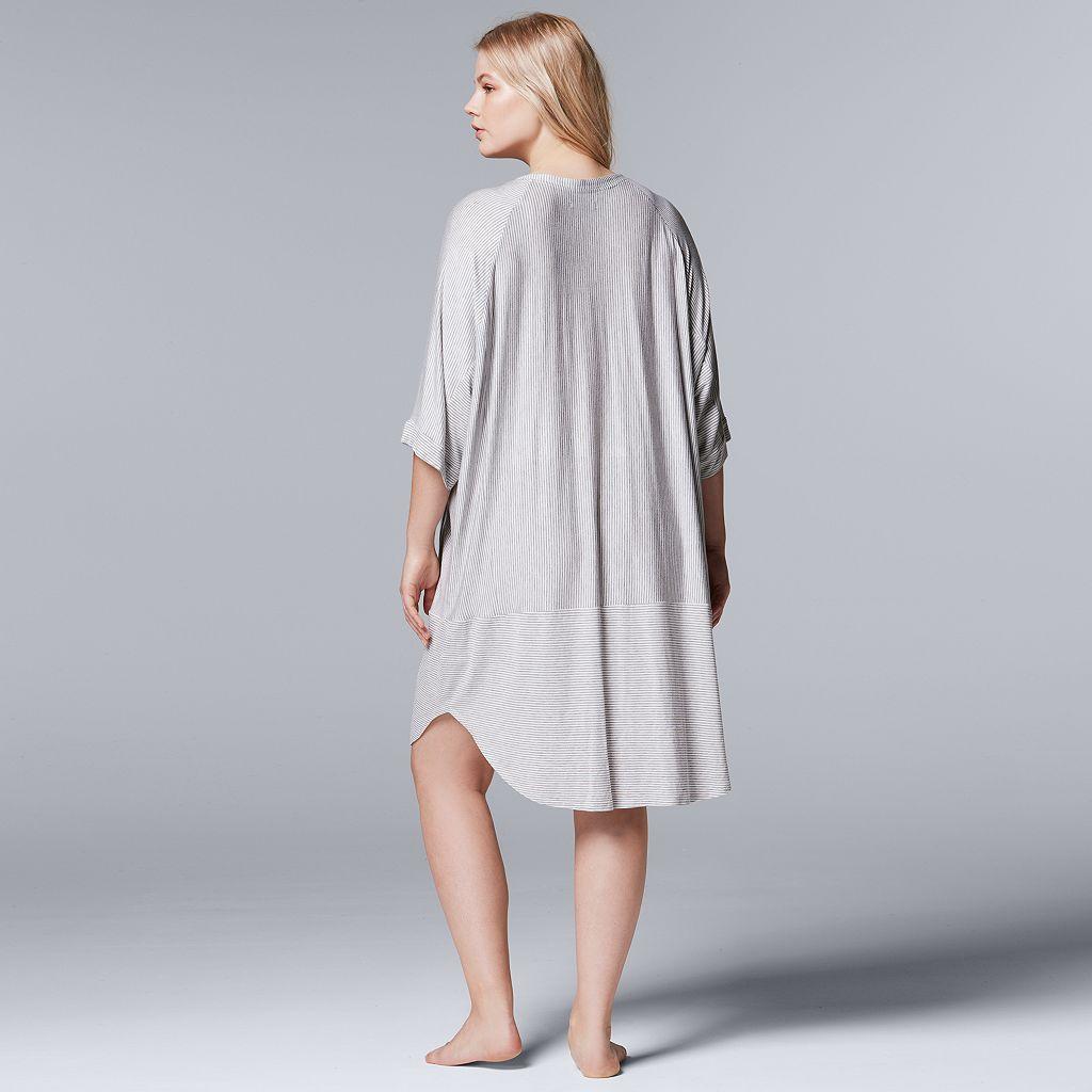 Plus Size Simply Vera Vera Wang Pajamas: Lakeside Lounging Short Sleeve Sleep Shirt