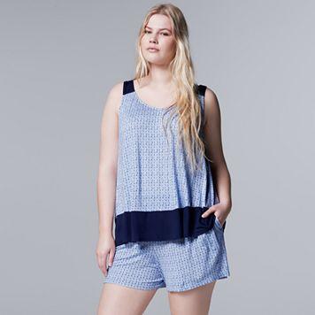 Plus Size Simply Vera Vera Wang Pajamas: Lakeside Lounging Tank & Boxer Shorts PJ Set