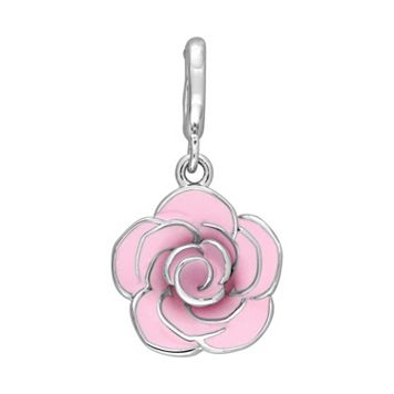Laura Ashley Botanical Collection Sterling Silver Pink Rose Charm