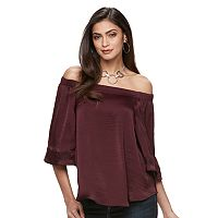 Petite Jennifer Lopez Off-the-Shoulder Charmeuse Top