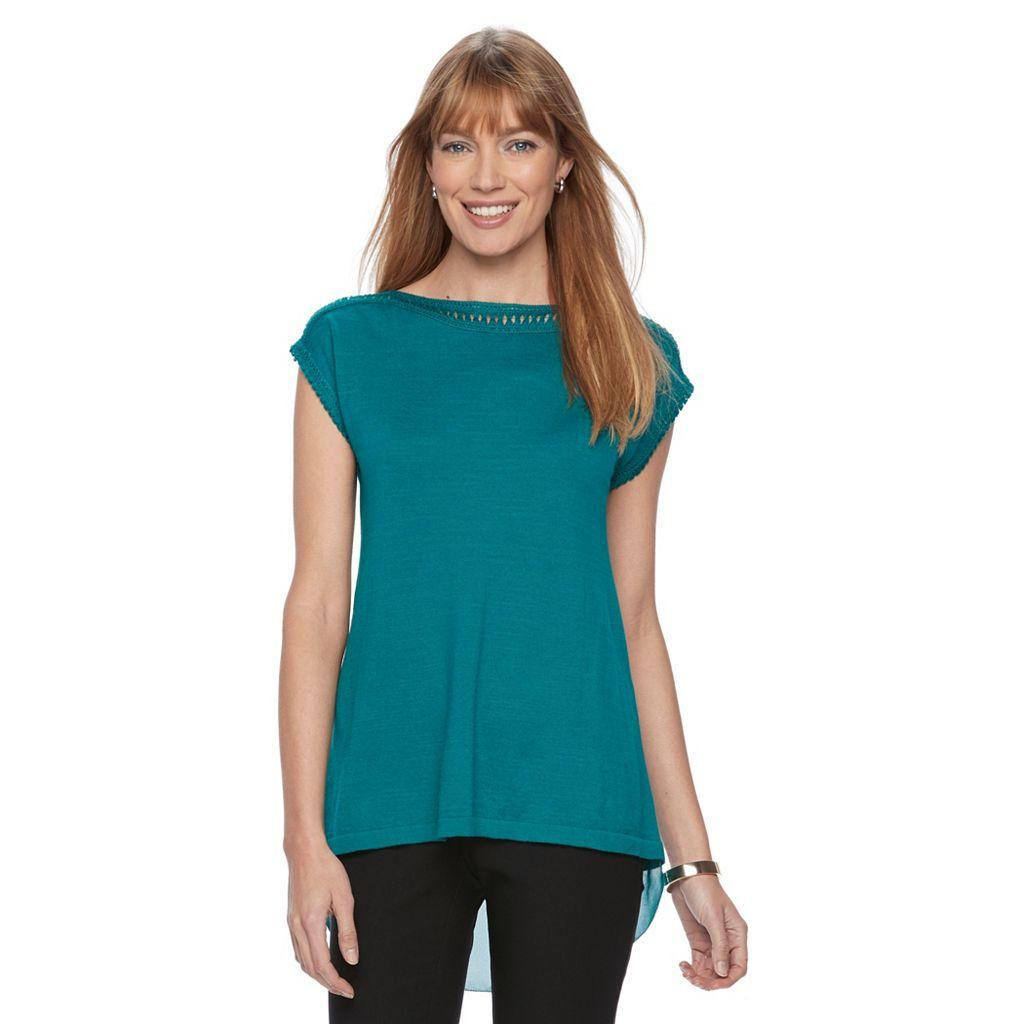 Women's Dana Buchman Chiffon-Hem Sweater