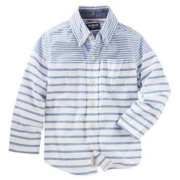 Toddler Boy OshKosh B'gosh® Long Sleeve Multi-Striped Button-Down Shirt