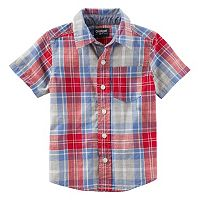Toddler Boy OshKosh B'gosh® Red & Blue Short Sleeve Button-Down Shirt