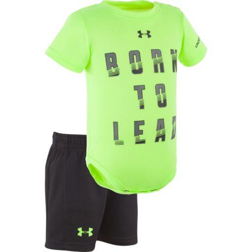 "Baby Boy Under Armour ""Born To Lead"" Bodysuit & Mesh Shorts Set"