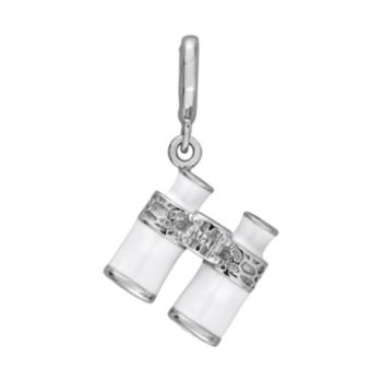 Laura Ashley Nautical Collection Sterling Silver Lab-Created White Sapphire Binoculars Charm