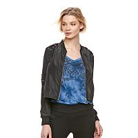 Women's Rock & Republic® Lace-Up Crop Bomber Jacket