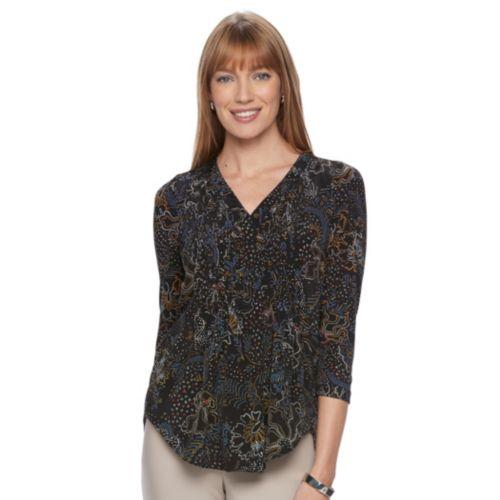 Women's Dana Buchman Pintuck Mixed-Media Top