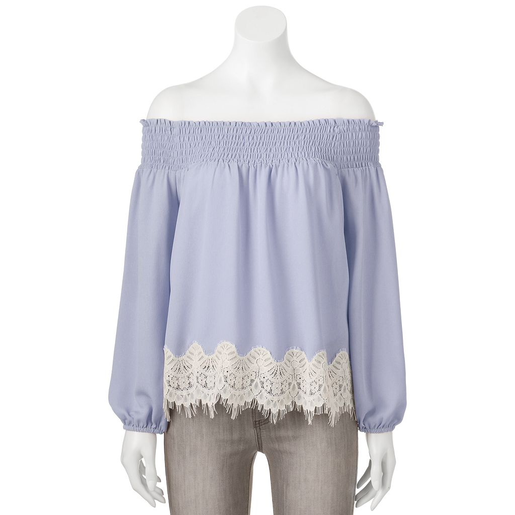 Juniors' About A Girl Lace Hem Off-the-Shoulder Top