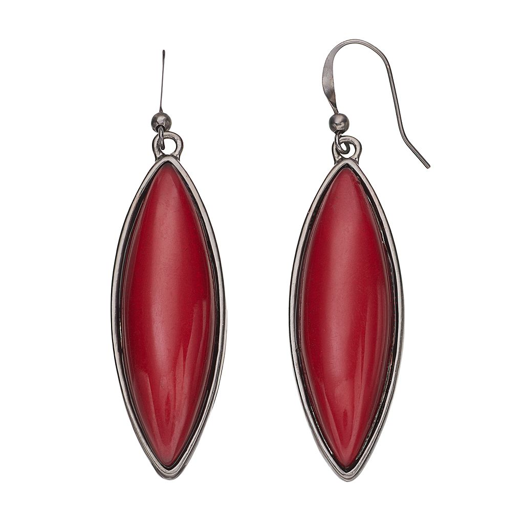 Red Marquise Cabochon Drop Earrings