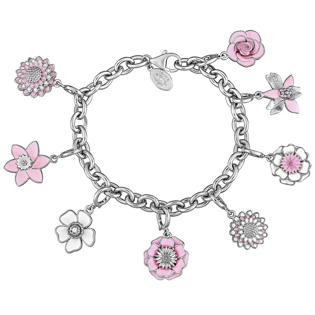 Laura Ashley Botanical Collection Sterling Silver Layered Pink Flower Charm