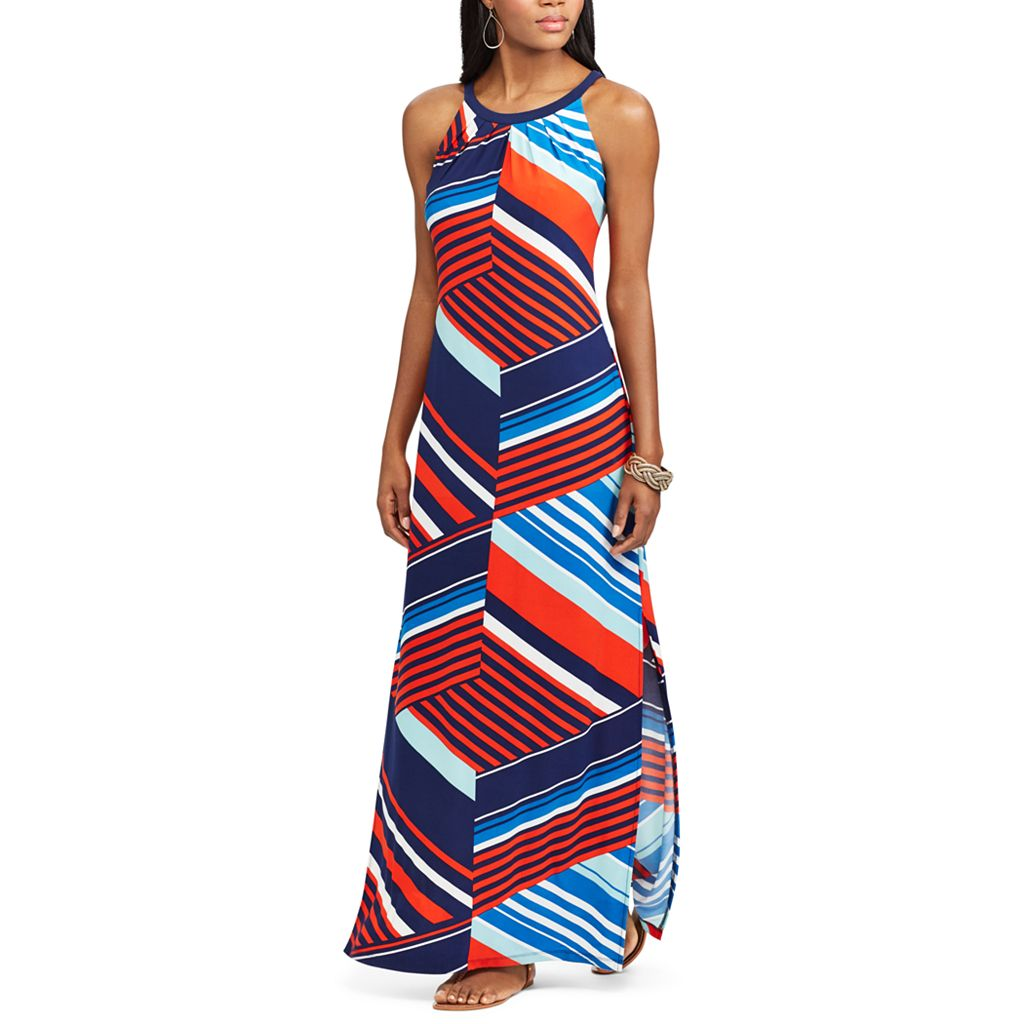 Petite Chaps Striped Jersey Maxi Dress