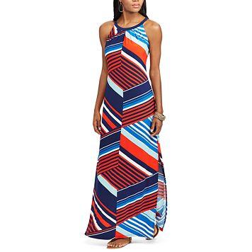 Petite Chaps Striped Jersey Maxi Dress