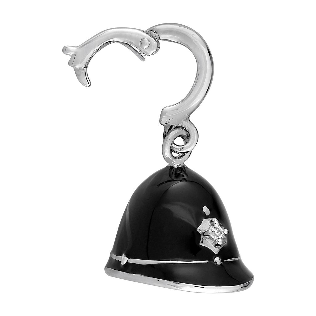 Laura Ashley Great Britain Collection Sterling Silver Lab-Created White Sapphire English Police Officer Cap Charm