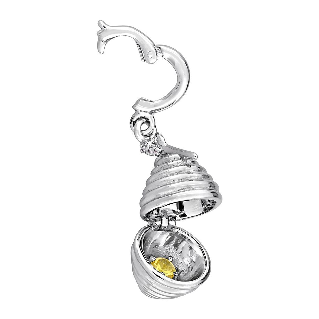 Laura Ashley Garden Collection Sterling Silver Lab-Created Yellow Sapphire Beehive Charm