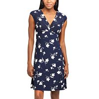 Petite Chaps Floral Surplice Empire Dress