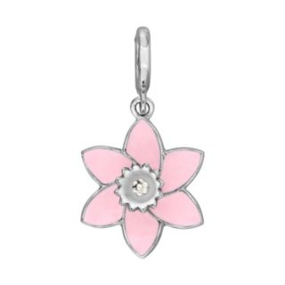 Laura Ashley Lifestyles Botanical Collection Sterling Silver Pink Flower Charm