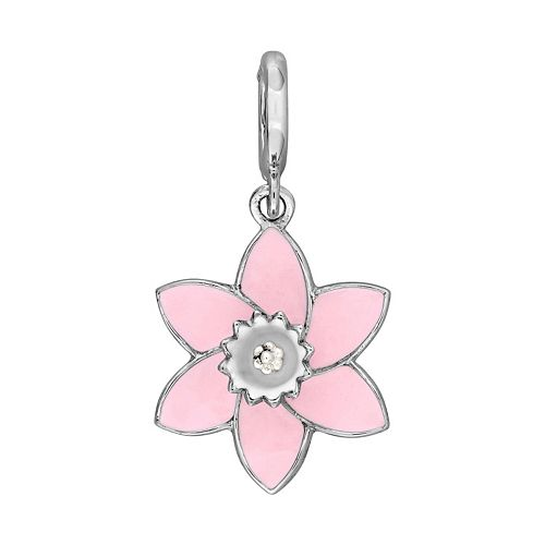 Laura Ashley Botanical Collection Sterling Silver Pink Flower Charm