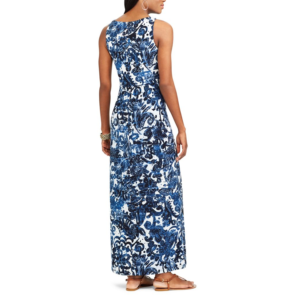 Petite Chaps Paisley Surplice Maxi Dress
