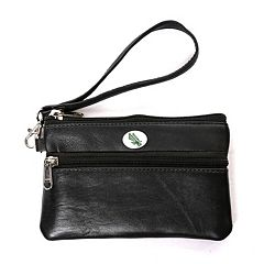 North Texas Mean Green Leather Wristlet